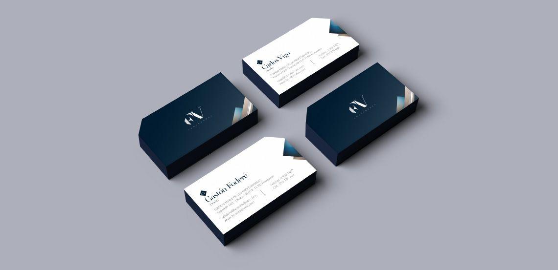 diseño de tarjetas personales para el estudio FV Contadores