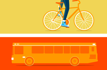 ilustración de bicicleta y autos para video animado