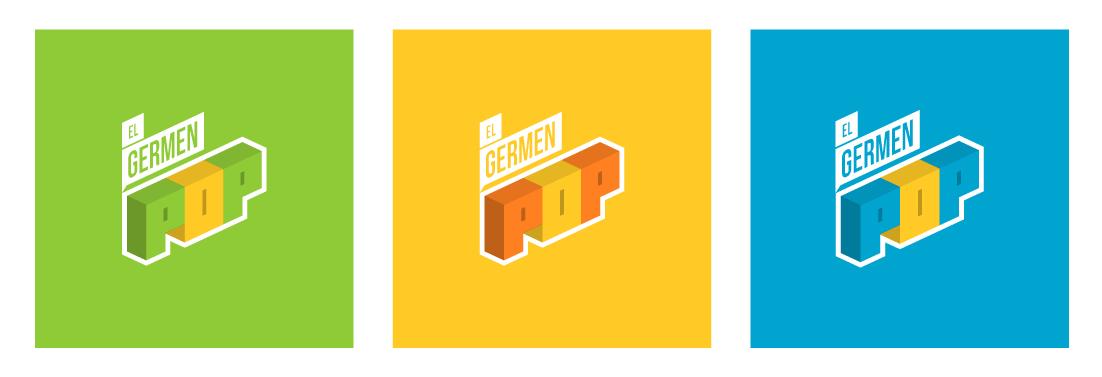 variantes de logotipo para El Germen Pop