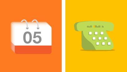 telefono y calendario ilustrado para aplicación Opiniones Ya