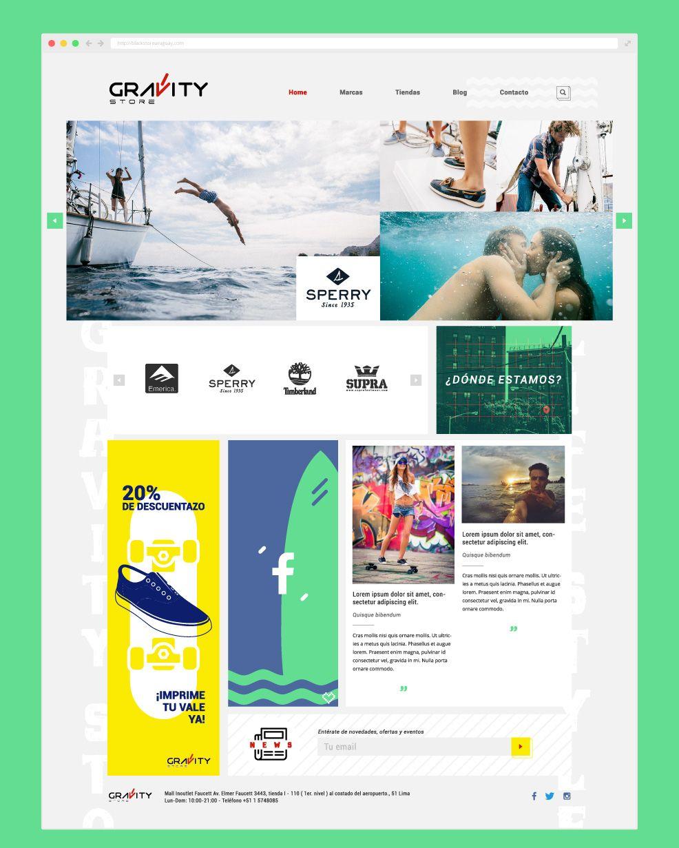 diseño web responsivo para la tienda Gravity