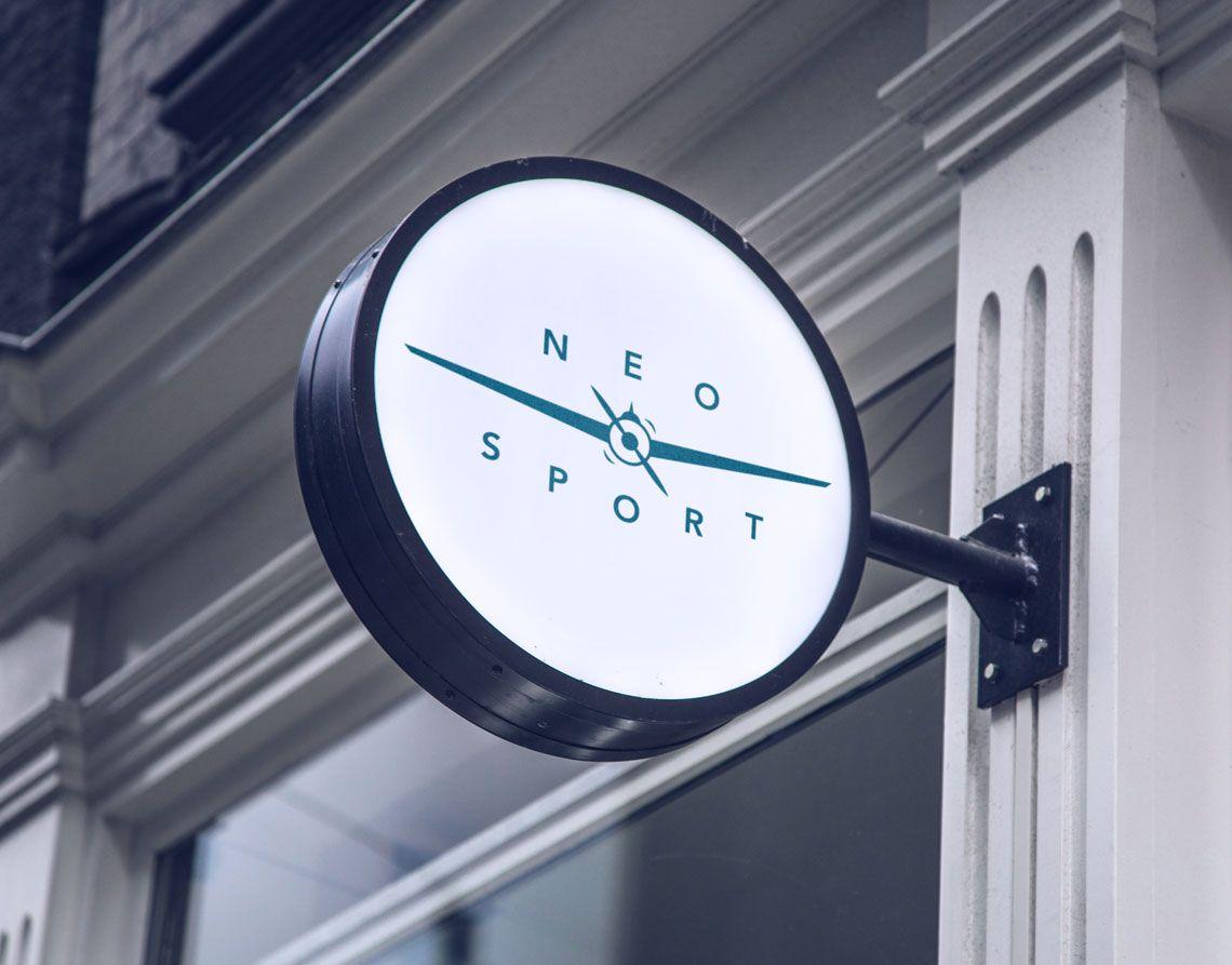 logotipo de neo sport en mockup