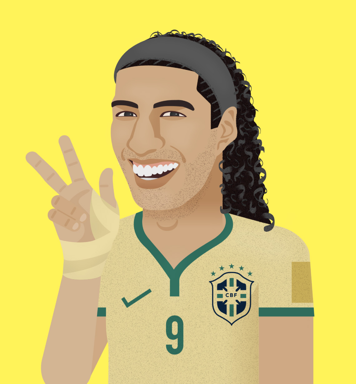 Ilustración de fusión entre Luis Suarez y Ronaldinho Gaucho