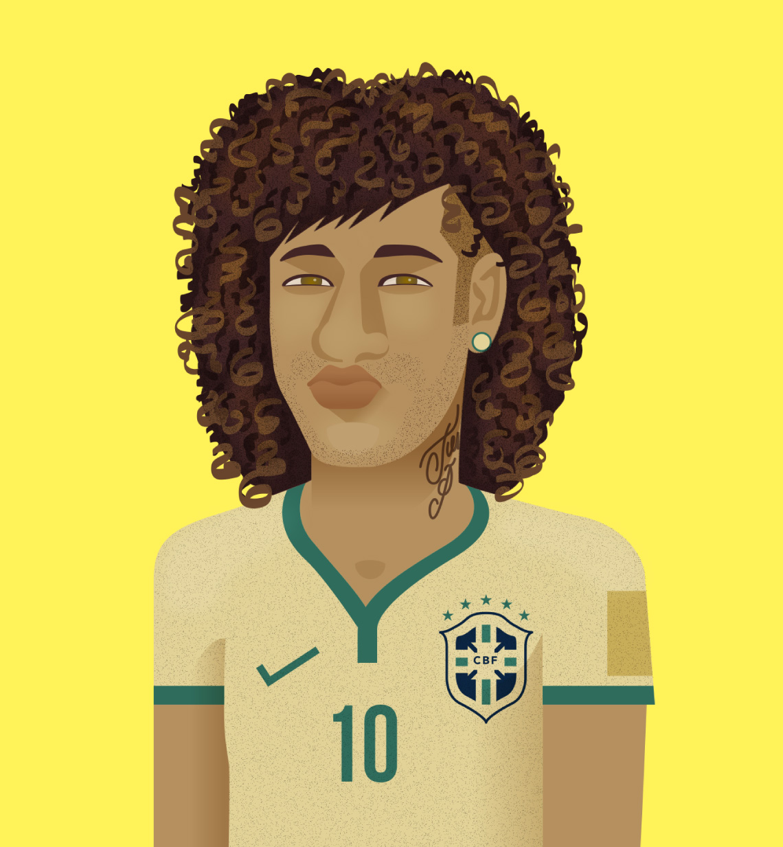 ilustración de fusión entre Neymar y David Luiz