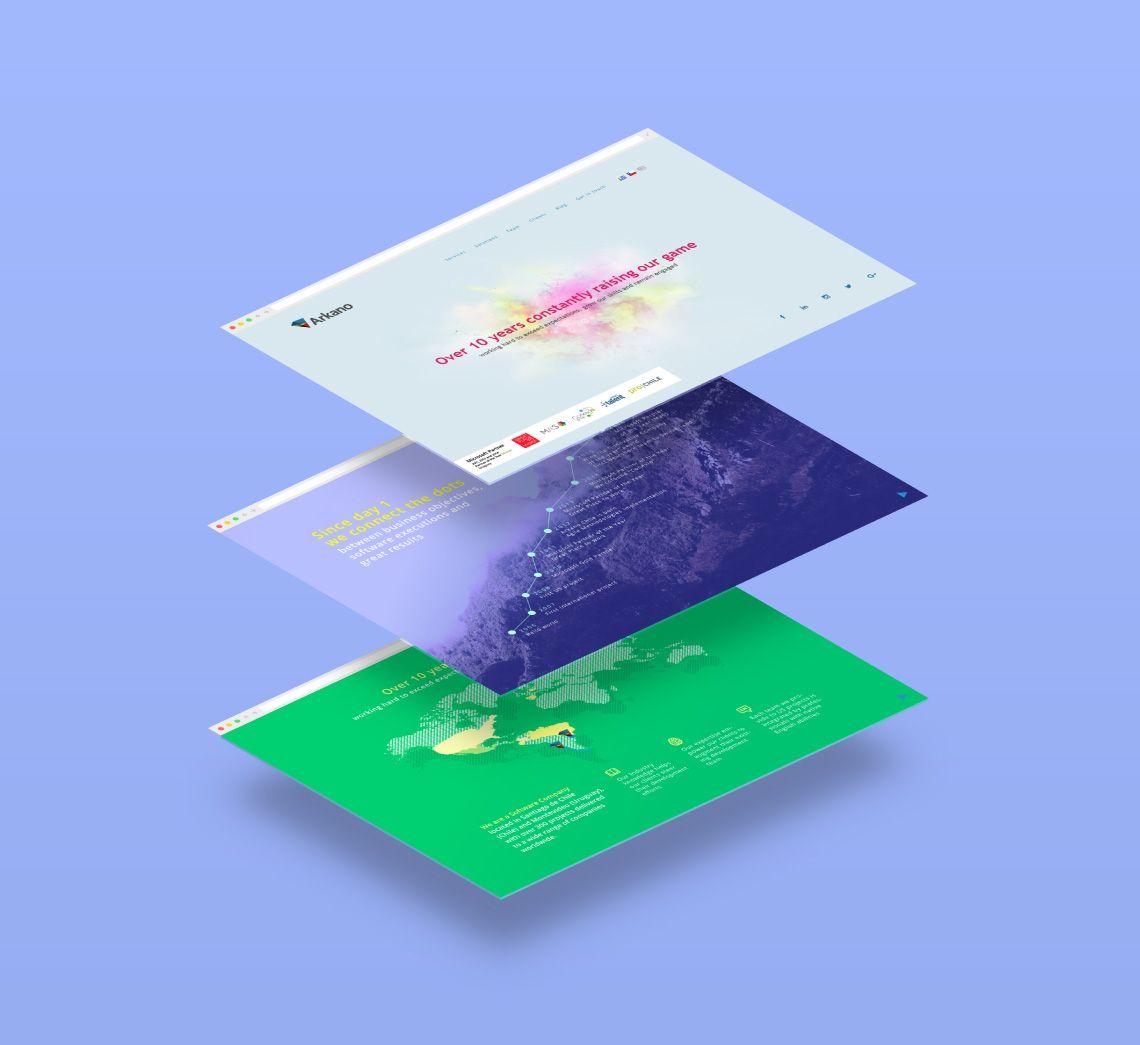 diseño de sitio web para Arkano software